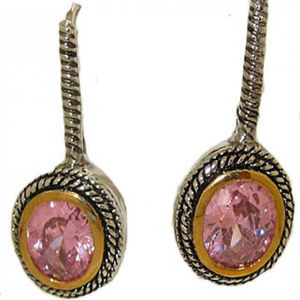 cable earring pink or purple cz white yellow gold